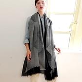 羊毛披肩-復古黑白條紋毛邊女圍巾73wq29[時尚巴黎]