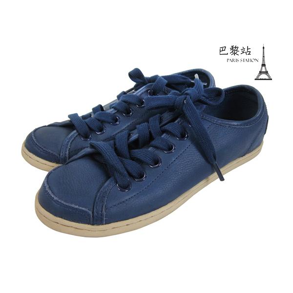 【巴黎站二手名牌專賣店】*現貨*CAMPER 真品*深藍色皮革綁帶平底休閒鞋(37號)