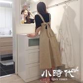 棉麻洋裝-夏裝學院風背帶收腰高腰中長款連身裙女大擺文藝棉麻