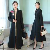 黑色女士羊毛呢開衫大衣長款長袖2018秋冬高貴媽媽裝外搭外套洋裝