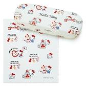 小禮堂 Hello Kitty 皮質硬殼眼鏡盒 附眼鏡布 皮質收納盒 小物盒 (米 2021新生活) 4550337-40012