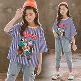 女童短袖T恤兒童2021夏裝新款韓版洋氣寬鬆純棉上衣中大童條紋女