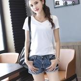 短袖T恤 夏季短袖白色V領T恤打底衫
