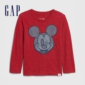 Gap男幼童 Gap x Disney 迪士尼創意刺繡圓領長袖T恤 617764-紅色