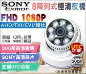 【台灣安防】AHD 1080P 8陣列IR攝影機 室內半球監視器 SONY晶片 TVI CVI 監視器 監視設備
