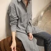 微購【A2837】寬鬆斜條紋長款長袖襯衫裙