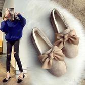 新款毛毛鞋一腳蹬平底鞋單鞋百搭冬加絨豆豆鞋新款懶人鞋 QQ17107『東京衣社』