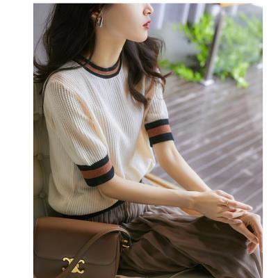 針織短T冰絲涼感上衣~棉提花紋理撞色針織衫T恤DC110B衣時尚