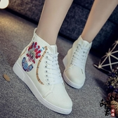 中國民族風繡花鞋女鞋休閒運動板鞋女單鞋高幫系帶布鞋