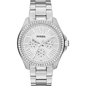 FOSSIL Cecile 羅馬時尚日曆晶鑽腕錶/手錶-銀 AM4481