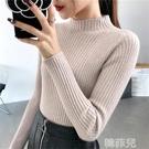 針織衫 半高領套頭毛衣女秋冬新款修身針織衫內搭上衣長袖緊身打底衫 韓菲兒