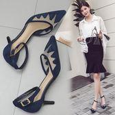 歐美夏季新款韓版女式網紗尖頭高跟鞋淺口