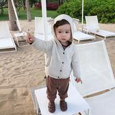 童裝嬰兒春裝 小女童針織開襟外套熊耳朵連帽男寶寶衣服【無趣工社】