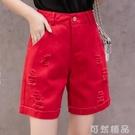 牛仔五分褲女寬鬆直筒工裝5分褲四分短褲女夏季中褲修身短褲顯瘦 可然精品