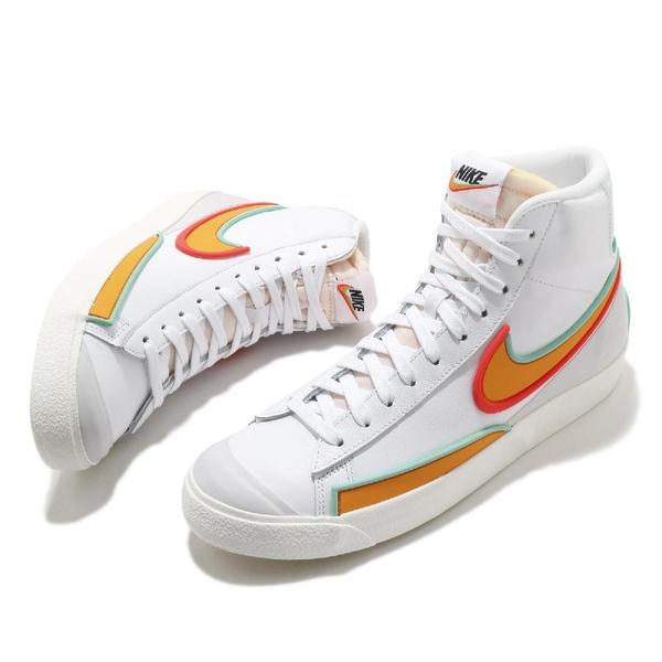 Nike 休閒鞋 Blazer Mid 77 Infinite 白 橘紅 藍 男鞋 簡約 皮革 白鞋【ACS】 DA7233-100