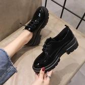 秋季新款黑色英倫風單鞋秋款小皮鞋女潮百搭厚底鬆糕坡跟女鞋