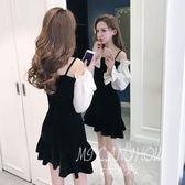 ✎﹏₯㎕ 米蘭shoe  金絲絨連衣裙春裝新款一字肩性感喇叭袖修身荷葉邊吊帶裙子