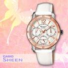 CASIO手錶專賣店 卡西歐 SHEEN SHN-3012GL 女錶白 點綴萊茵石 三眼設計 玫瑰金離子IP處理錶圈 皮革錶帶