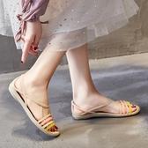 夏季軟底塑料涼鞋女旗袍海邊沙灘洞洞鞋防滑大碼平跟水晶果凍鞋女 【ifashion·全店免運】
