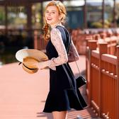 雪紡連身裙女長袖氣質中長款韓版新款春裝兩件裙子