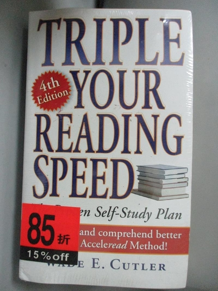 【書寶二手書T1/財經企管_INZ】Triple Your Reading Speed_Cutler, Wade E.
