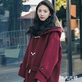 過膝中長款毛呢外套女秋冬季新款韓版寬鬆牛角扣加厚呢子大衣 FX9662 【MG大尺碼】