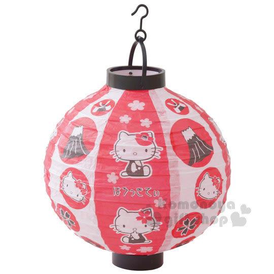〔小禮堂〕Hello Kitty 圓型紙燈籠《紅白.多動作》LED仿真燈效 4983771-16671