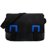 Calvin Klein 素面尼龍皮革拼接斜背包(黑色)103328