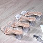 網紅水晶跟透明涼拖鞋女外穿粗跟一字帶時尚百搭夏新款小ck鞋 亞斯藍