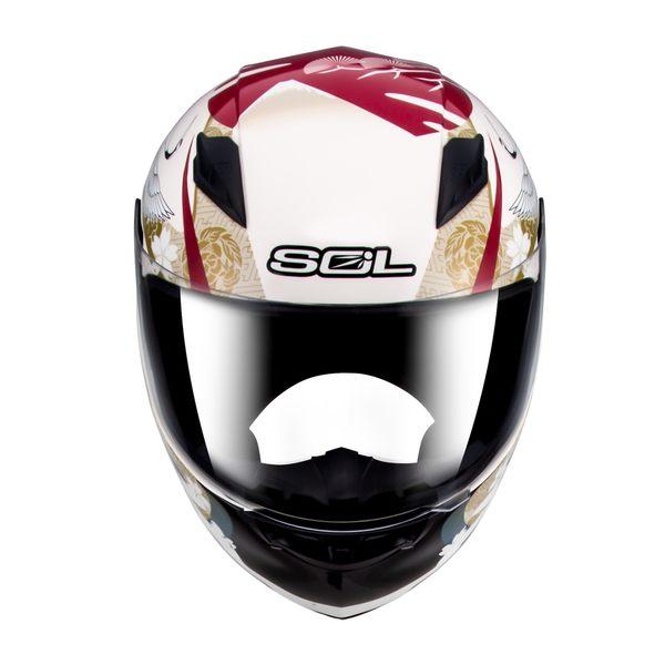 [東門城] SOL SF-2M 浮世繪(米白/紅) 全罩安全帽 情侶帽 小頭圍 內襯可拆 (預購約20日內)