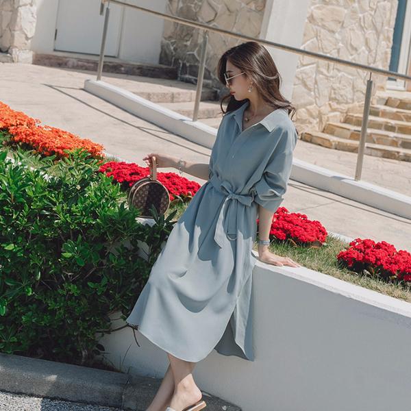 2020年新款長袖雪紡洋裝收腰顯瘦中長款氣質女神范襯衫裙女春秋 草莓妞妞