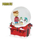 【正版授權】Enesco 史努比 音樂 聖誕水晶球 公仔 擺飾 Snoopy PEANUTS - 968751