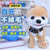兒童電動玩具狗泰迪牽繩小狗狗充電仿真毛絨會走叫跑遙控智慧寵物