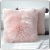北歐長毛絨抱枕套沙發靠枕汽車床頭靠墊辦公室公主粉少女心Mandyc