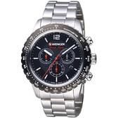 瑞士WENGER Roadster速度系列黑夜騎士三眼指針腕錶 01.0853.107