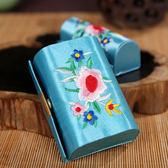 中國風刺繡綢緞口紅唇彩收納盒化妝盒補妝盒