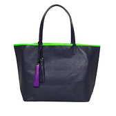 【LILI RADU】德國新銳時尚設計品牌 手工流蘇雙色時尚小牛皮肩揹包 購物包 (舞夜藍)