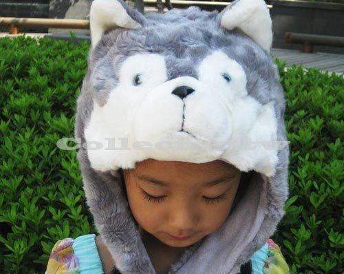 【超取399免運】哈士奇毛帽 小狗造型帽 動物保暖帽 大人小孩都可戴