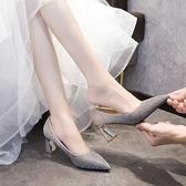 高跟鞋 主婚紗婚鞋2021年新款結婚鞋子新娘鞋香檳色高跟伴娘鞋粗跟單鞋女 韓國時尚週