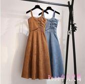 秋冬新款洋裝復古溫柔風修身顯瘦中長款打底燈芯絨背帶連身裙 XN6374【Rose中大尺碼】