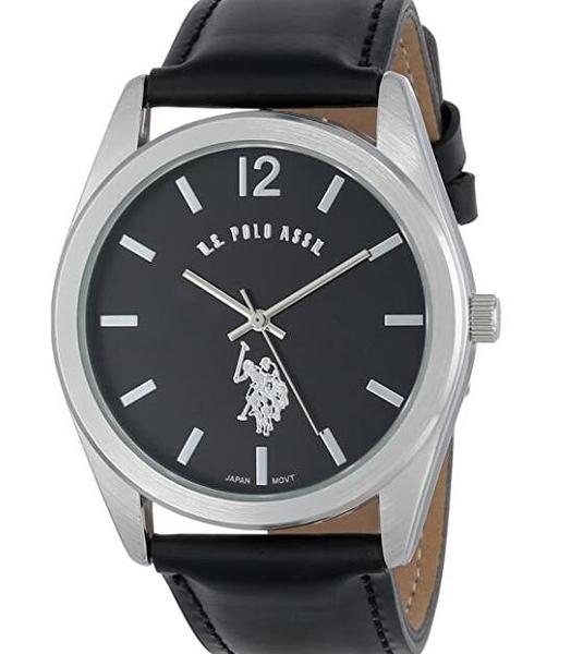 [2美國直購] 手錶 U.S. Polo Assn. Classic Men's USC50005 Silver-Tone Watch with Black Genuine