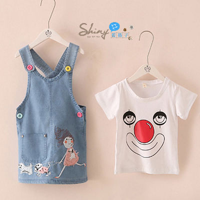 【R2282】shiny藍格子-嬰幼館.夏裝新款女童可愛小丑短袖上衣+吊帶裙套裝