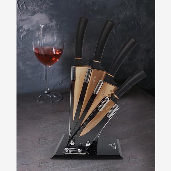 【優多生活】義大利Mama Cook 廚神系列-鈦金鑽刀具組(片刀+料理刀+廚師刀+萬用刀+刀座)