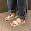 細細條 厚底涼拖鞋女夏天ins潮網紅時尚外穿復古港味原宿風沙灘鞋新品
