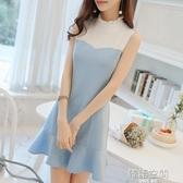 連身裙 彩黛妃2020春夏新款韓版女裝無袖拼接修身顯瘦收腰荷葉邊裙洋裝