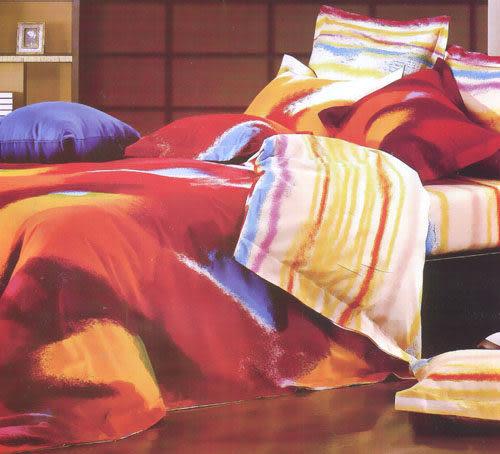 雙人加大6*6.2尺-台灣製造精品 POLO-196  精梳棉五件式床罩組