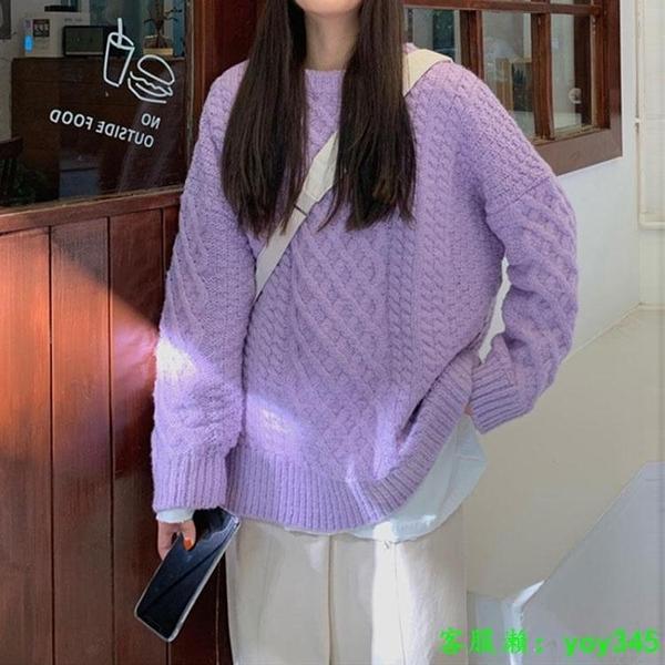 中大尺碼毛衣 毛衣女2020年秋冬新款韓版慵懶風套頭小個子上衣寬松外穿針織長袖