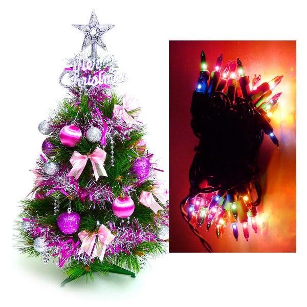 台灣製2尺/2呎(60cm)特級松針葉聖誕樹  (+銀紫色系飾品組)+50燈彩色樹燈串(本島免運費)