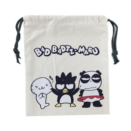 小禮堂 酷企鵝 束口袋 收納袋 縮口袋 帆布袋 18x20cm  (米黑 頑皮海豹) 4549466-06147