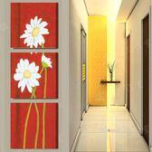 走廊裝飾畫冰晶玻璃豎版無框畫三聯畫玄關畫掛畫墻壁畫紅底白菊花LG-67021